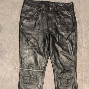 Black Guess Vintage genuine leather pants. Size 4